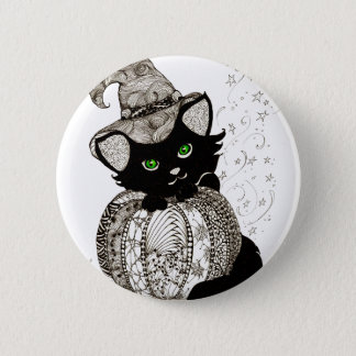 Black Cat Green Eyes Pumpkin 6 Cm Round Badge