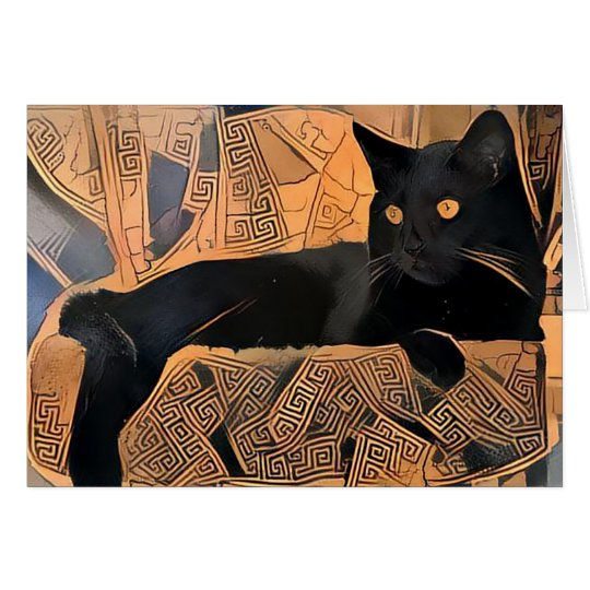 Black Cat Greeting Card, Greek Inspired, Blank Card