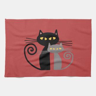 Black  Cat, Grey Cat Tea Towels