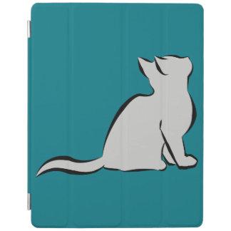 Black cat, grey fill iPad cover