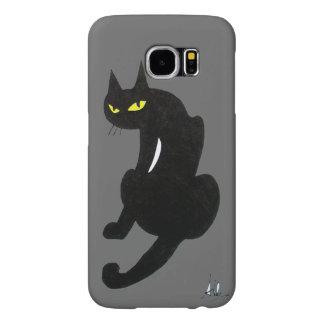 BLACK CAT grey Samsung Galaxy S6 Cases
