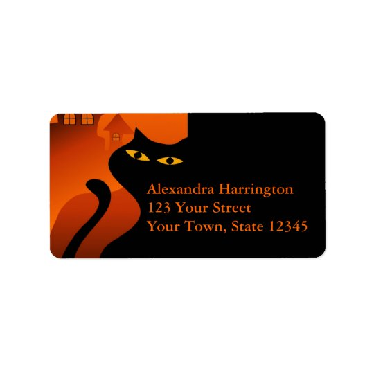 Black Cat Halloween Address Label