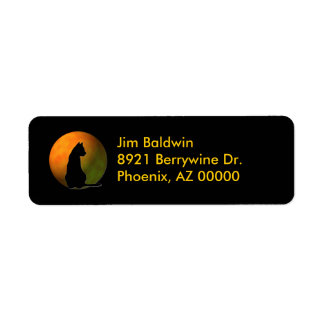 Black Cat Halloween Address Labels