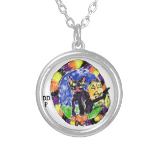 black cat Halloween Silver Plated Necklace