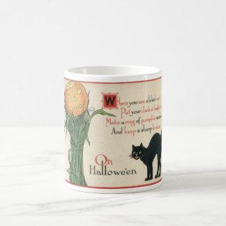 Black Cat Halloween Vintage Poem Mug