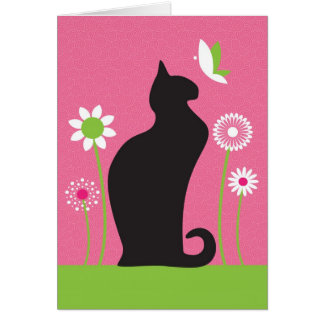 Black Cat Happy Birthday Card