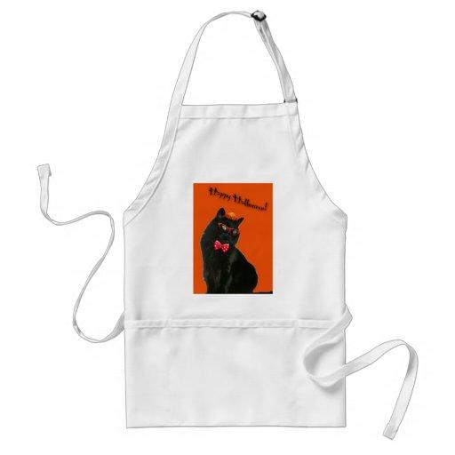 Black Cat Happy Halloween Apron