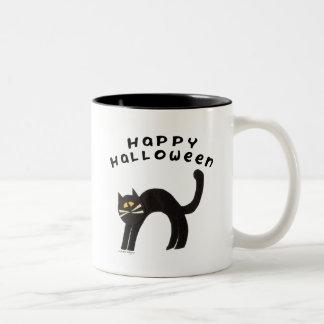Black Cat Happy Halloween Mug
