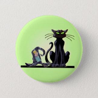 BLACK CAT & HAT by SHARON SHARPE 6 Cm Round Badge