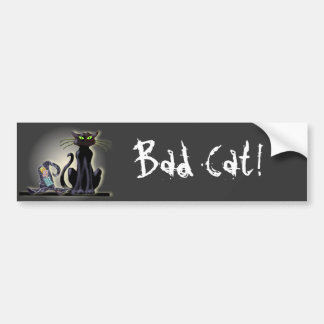 BLACK CAT & HAT by SHARON SHARPE Bumper Sticker