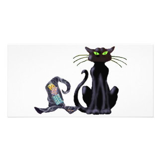 BLACK CAT & HAT by SHARON SHARPE Customised Photo Card