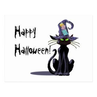BLACK CAT & HAT by SHARON SHARPE Postcard
