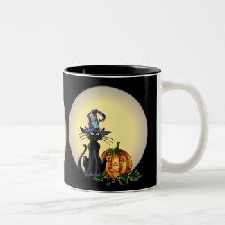 BLACK CAT, HAT, MOON & JACK by SHARON SHARPE Two-Tone Coffee Mug