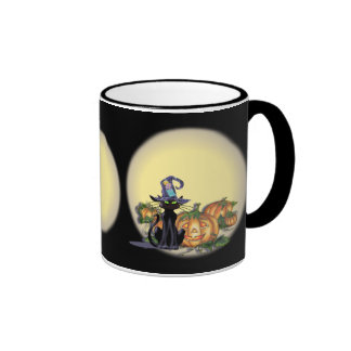 BLACK CAT, HAT, MOON & JACK by SHARON SHARPE Ringer Mug