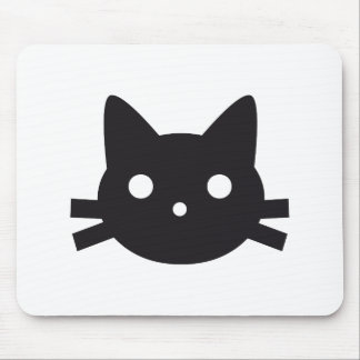 Black cat head design mouse pad