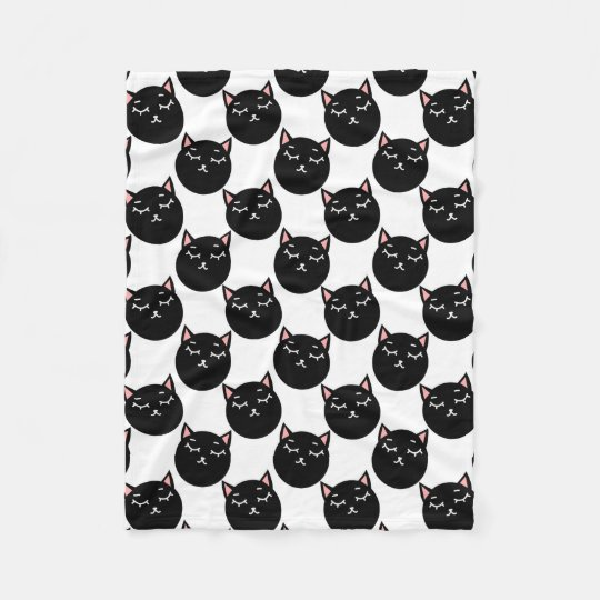 Black Cat Heads Pattern, Feline Design Fleece Blanket