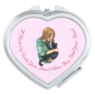 Black Cat Heart Compact Mirror