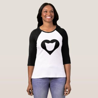 Black Cat/Heart Ladies' Raglan Shirt