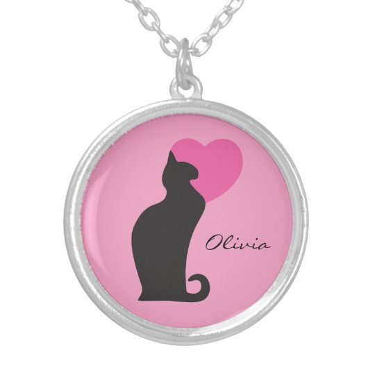 Black Cat Heart Monogram Silver Plated Necklace