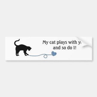 Black Cat & Heart Shaped Yarn (Blue) Bumper Sticker