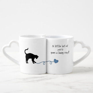 Black Cat & Heart Shaped Yarn (Blue) Lovers Mug