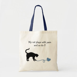 Black Cat & Heart Shaped Yarn (Blue) Tote Bag