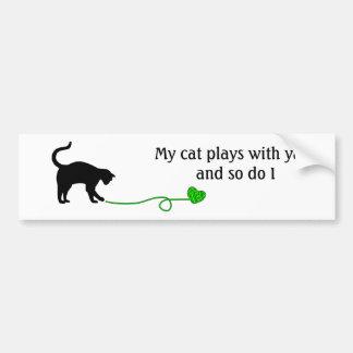Black Cat & Heart Shaped Yarn (Lime Green) Bumper Sticker