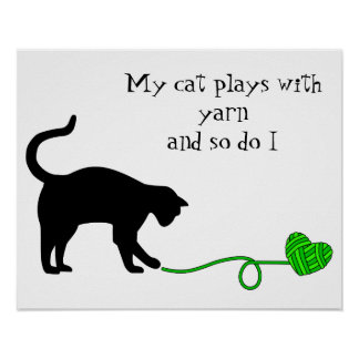 Black Cat & Heart Shaped Yarn (Lime Green) Poster