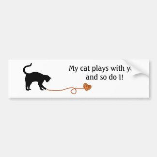 Black Cat & Heart Shaped Yarn (Orange) Bumper Sticker