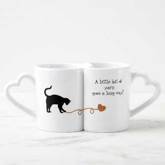 Black Cat & Heart Shaped Yarn (Orange) Lovers Mug