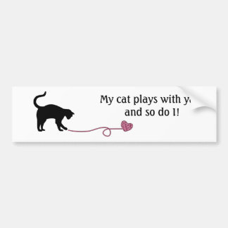 Black Cat & Heart Shaped Yarn (Pink) Bumper Sticker