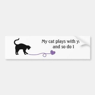 Black Cat & Heart Shaped Yarn (Purple) Bumper Sticker