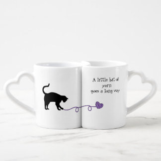 Black Cat & Heart Shaped Yarn (Purple) Lovers Mug