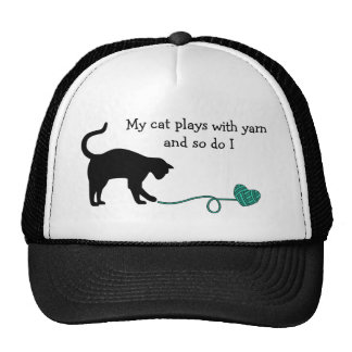 Black Cat & Heart Shaped Yarn (Turquoise) Hat