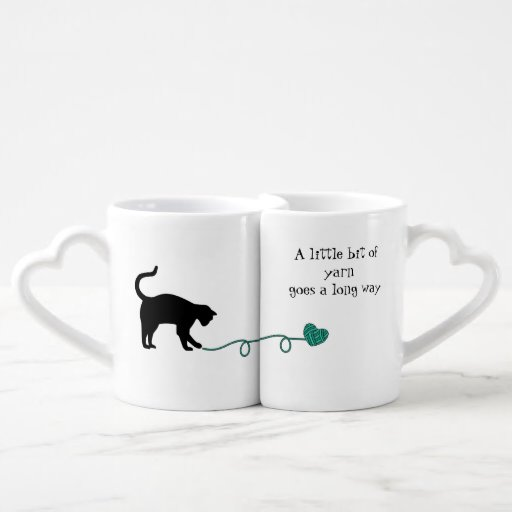 Black Cat & Heart Shaped Yarn (Turquoise) Lovers Mugs
