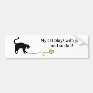 Black Cat & Heart Shaped Yarn (Yellow) Bumper Sticker