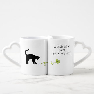 Black Cat & Heart Shaped Yarn (Yellow) Lovers Mug