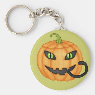Black Cat Hiding In Pumpkin Halloween Keychain