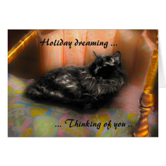 Black Cat Holiday Dreaming Card