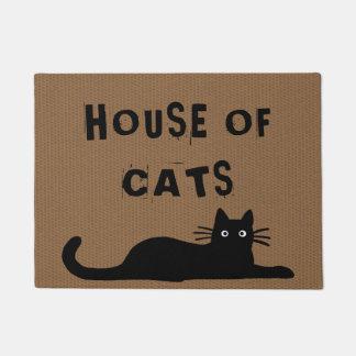 Black Cat - House of Cats - Custom Text Doormat