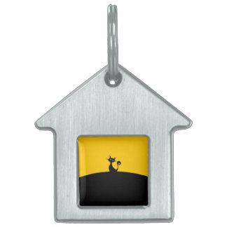 Black Cat House Pet Tag