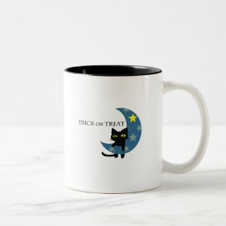 Black Cat Hunging the Blue Moon Two-Tone Coffee Mug