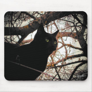 Black Cat in a Spooky Tree Mouse Pad