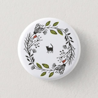 Black Cat in a Wreath Pin Button