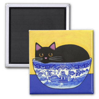 Black CAT in Blue Willow Bowl Square Magnet