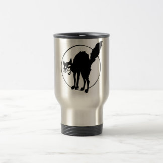 Black Cat in Front of the Moon Travel Commuter Mug