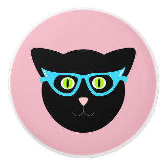 Black Cat in Glasses on Pink Ceramic Knob