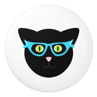 Black Cat in Glasses on White Ceramic Knob