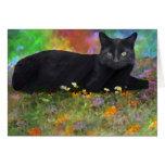 Black Cat in His Garden Impressionist Art Card