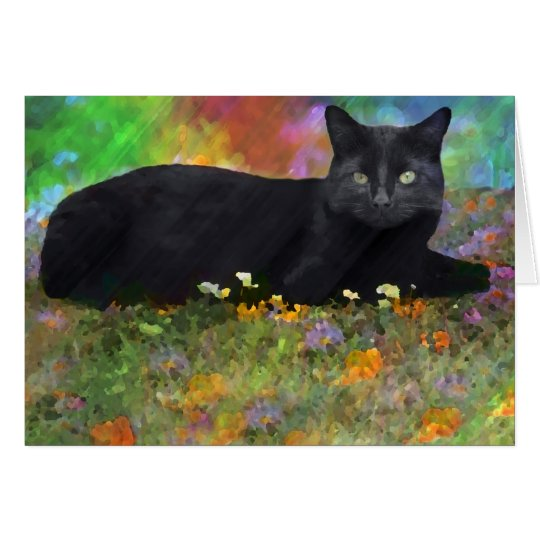 Black Cat in His Garden Impressionist Art Card